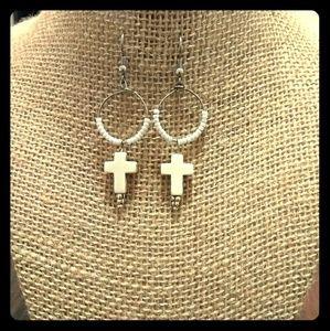Jewelry - White cross hoops